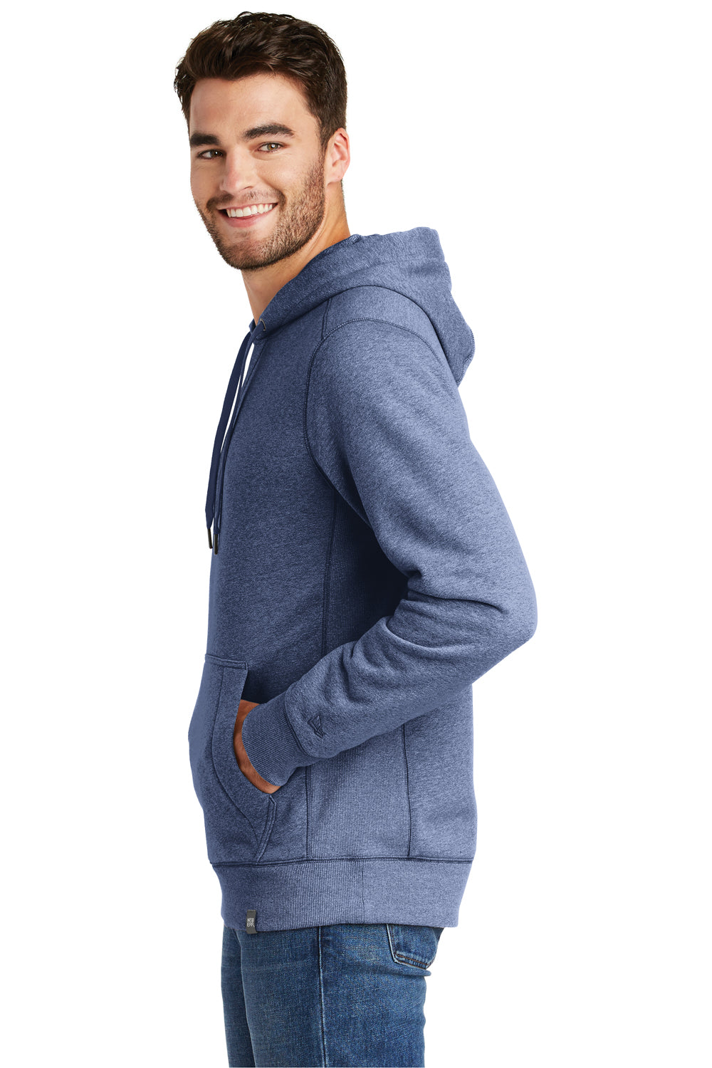 New Era NEA500 Mens Sueded French Terry Hooded Sweatshirt Hoodie Dark Royal Blue Twist Side