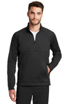 New Era NEA523 Mens Venue Moisture Wicking Fleece 1/4 Zip Sweatshirt Black Front