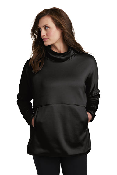 The North Face NF0A3SEF Womens Canyon Flats Fleece Poncho Sweatshirt Heather Black Front