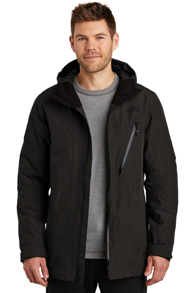 The North Face NF0A3SES Mens Ascendent Waterproof Full Zip Hooded Jacket Black Front