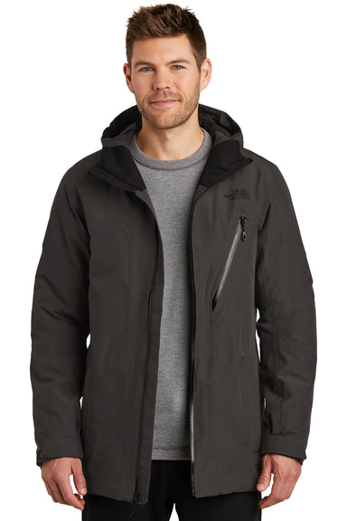 The North Face NF0A3SES Mens Ascendent Waterproof Full Zip Hooded Jacket Asphalt Grey Front