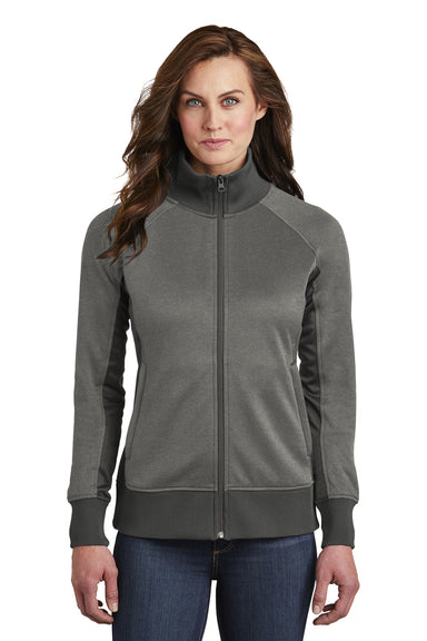 The North Face NF0A3SEV Womens Tech Full Zip Fleece Jacket Heather Grey Front