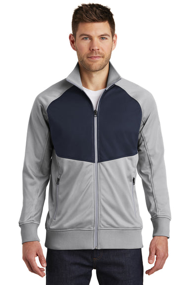 The North Face NF0A3SEW Mens Tech Full Zip Fleece Jacket Mid Grey/Navy Blue Front
