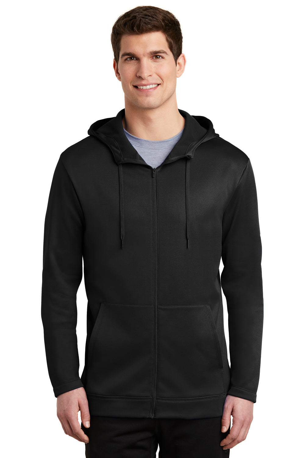 Nike NKAH6259 Mens Therma-Fit Fleece Full Zip Hooded Sweatshirt Hoodie Black Front