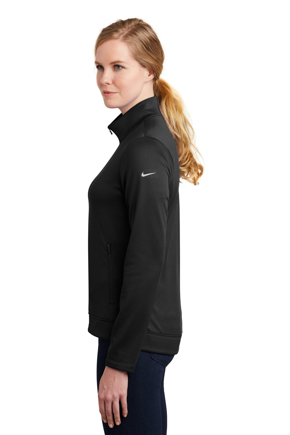 Nike NKAH6260 Womens Therma-Fit Moisture Wicking Fleece Full Zip Sweatshirt Black Side