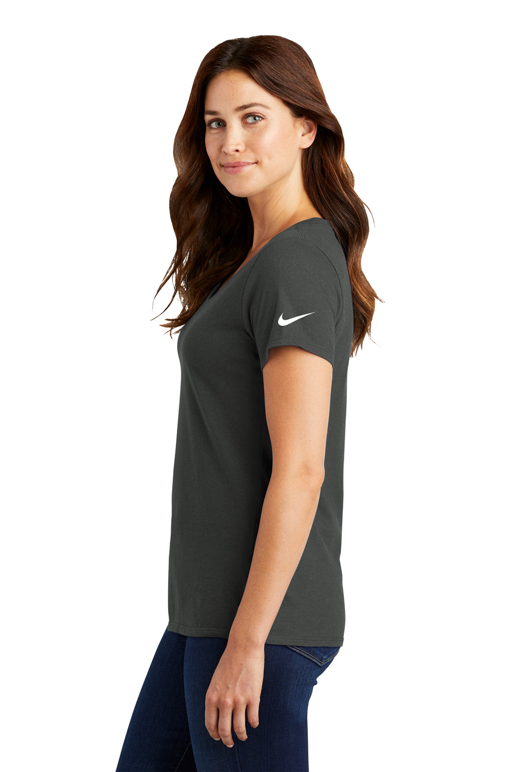 Nike NKBQ5234 Womens Dri-Fit Moisture Wicking Short Sleeve Scoop Neck T-Shirt Anthracite Grey Side