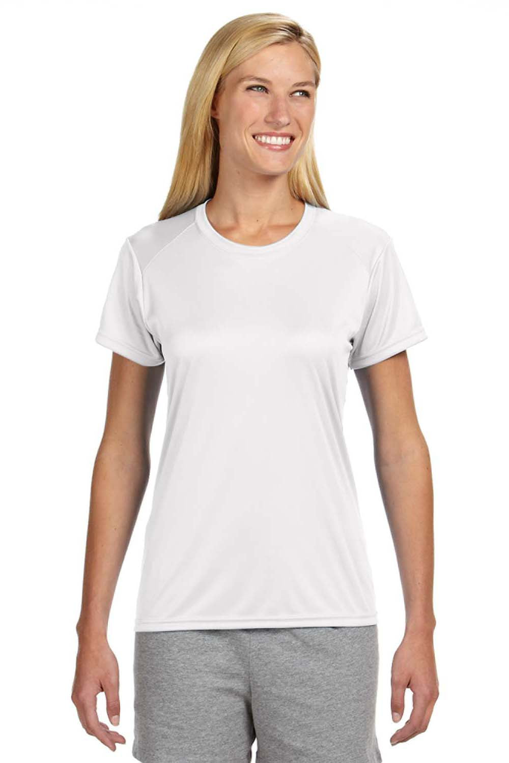 A4 NW3201 Womens Cooling Performance Moisture Wicking Short Sleeve Crewneck T-Shirt White Front