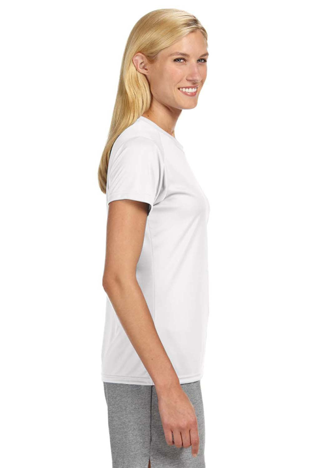 A4 NW3201 Womens Cooling Performance Moisture Wicking Short Sleeve Crewneck T-Shirt White Side