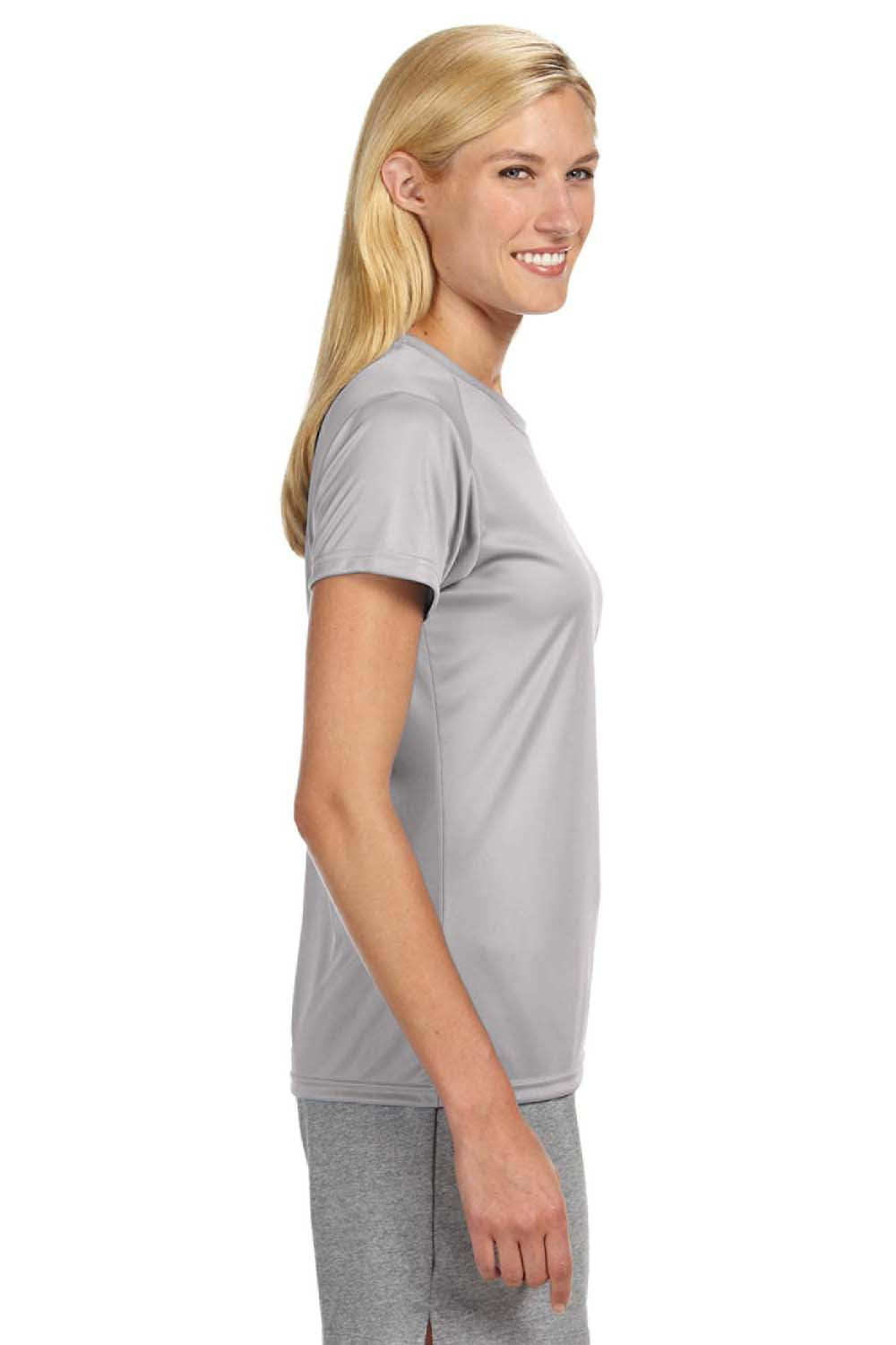 A4 NW3201 Womens Cooling Performance Moisture Wicking Short Sleeve Crewneck T-Shirt Silver Grey Side