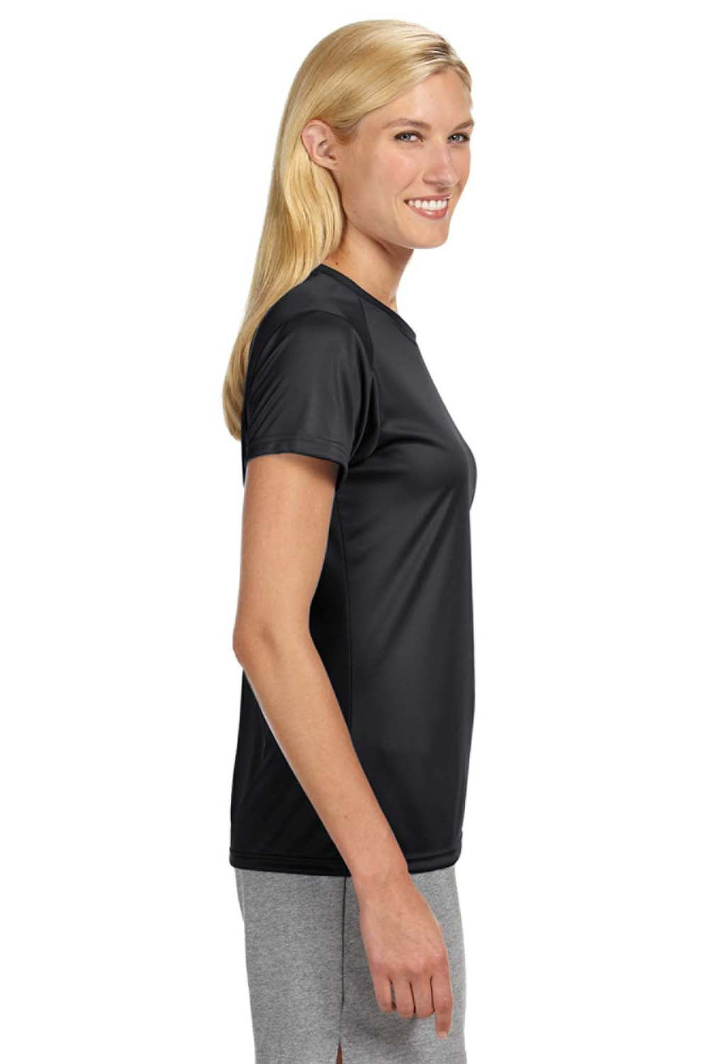 A4 NW3201 Womens Cooling Performance Moisture Wicking Short Sleeve Crewneck T-Shirt Black Side