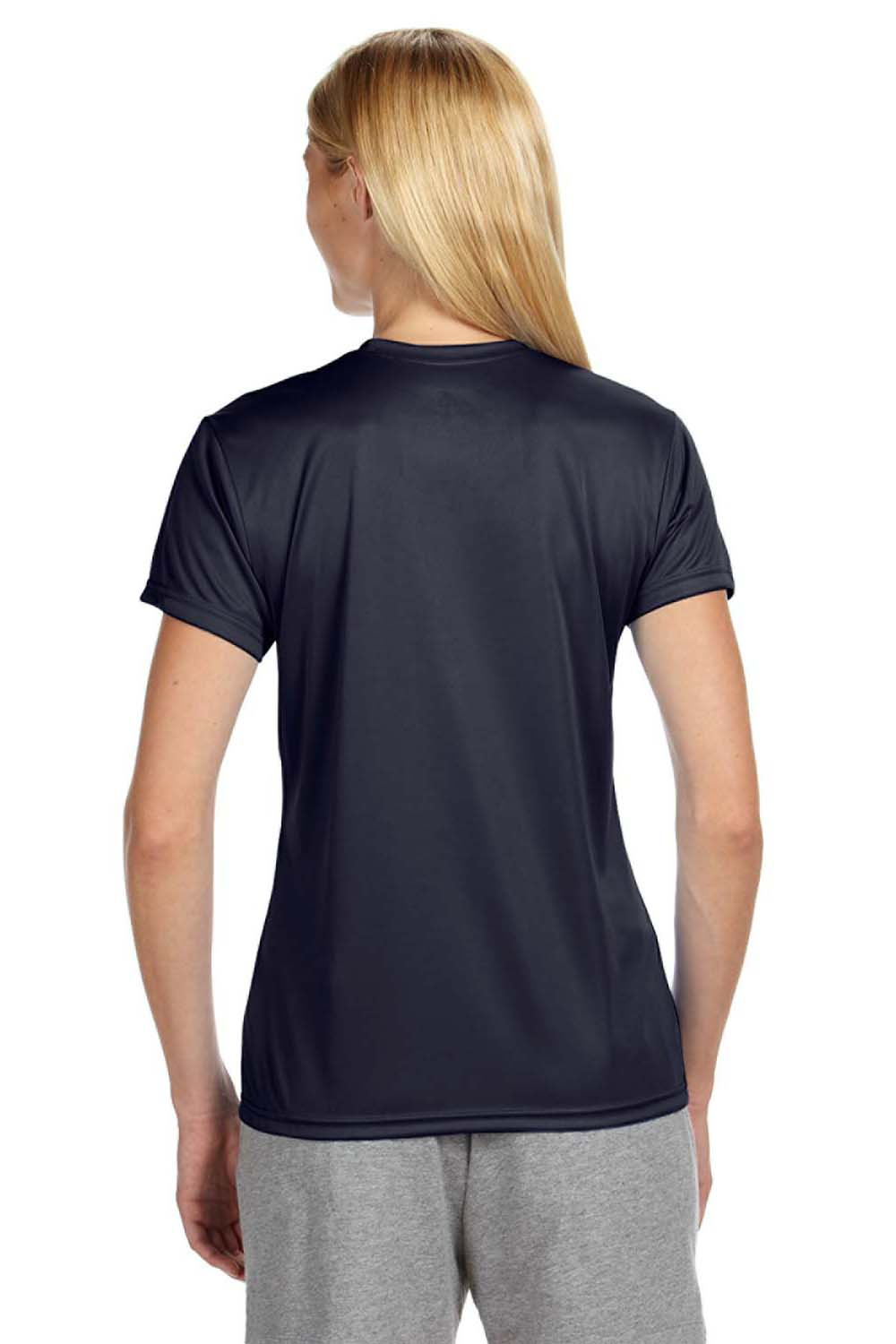 A4 NW3201 Womens Cooling Performance Moisture Wicking Short Sleeve Crewneck T-Shirt Navy Blue Back
