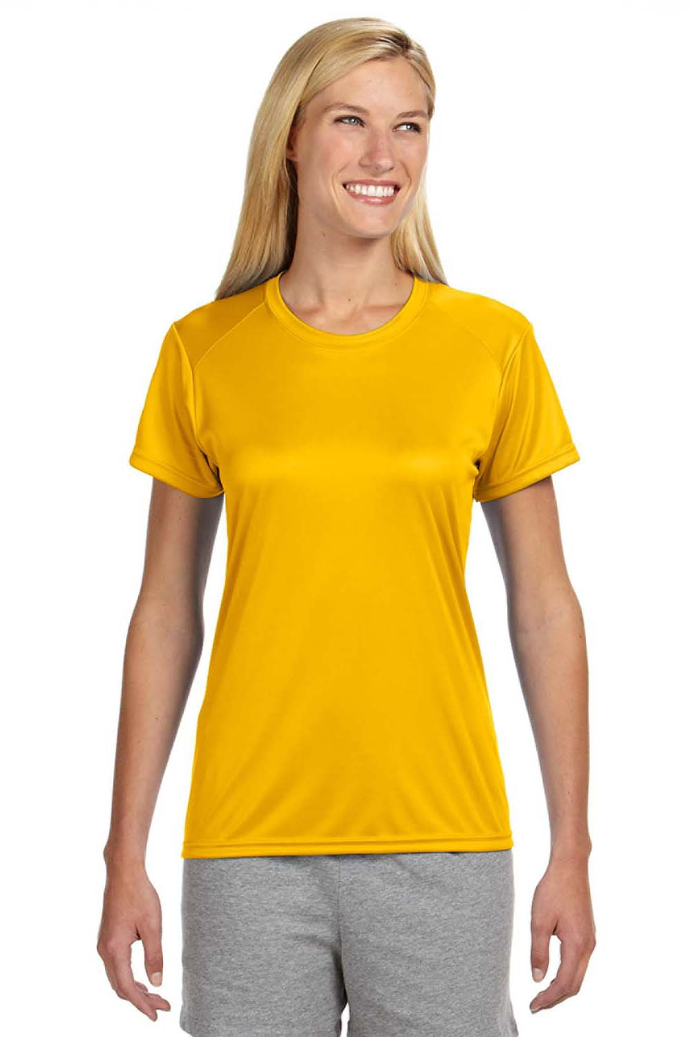 A4 NW3201 Womens Cooling Performance Moisture Wicking Short Sleeve Crewneck T-Shirt Gold Front