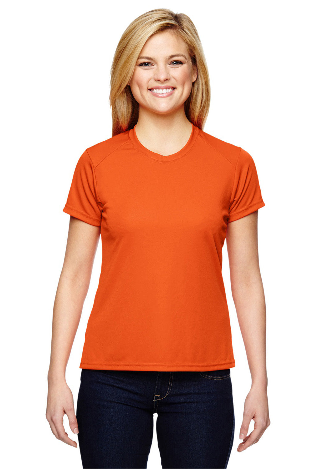 A4 NW3201 Womens Cooling Performance Moisture Wicking Short Sleeve Crewneck T-Shirt Orange Front