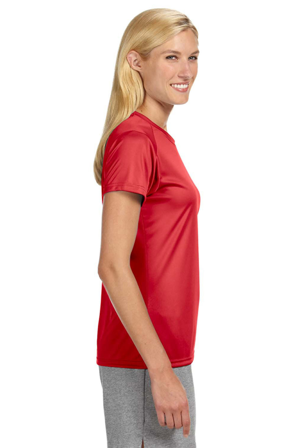 A4 NW3201 Womens Cooling Performance Moisture Wicking Short Sleeve Crewneck T-Shirt Red Side