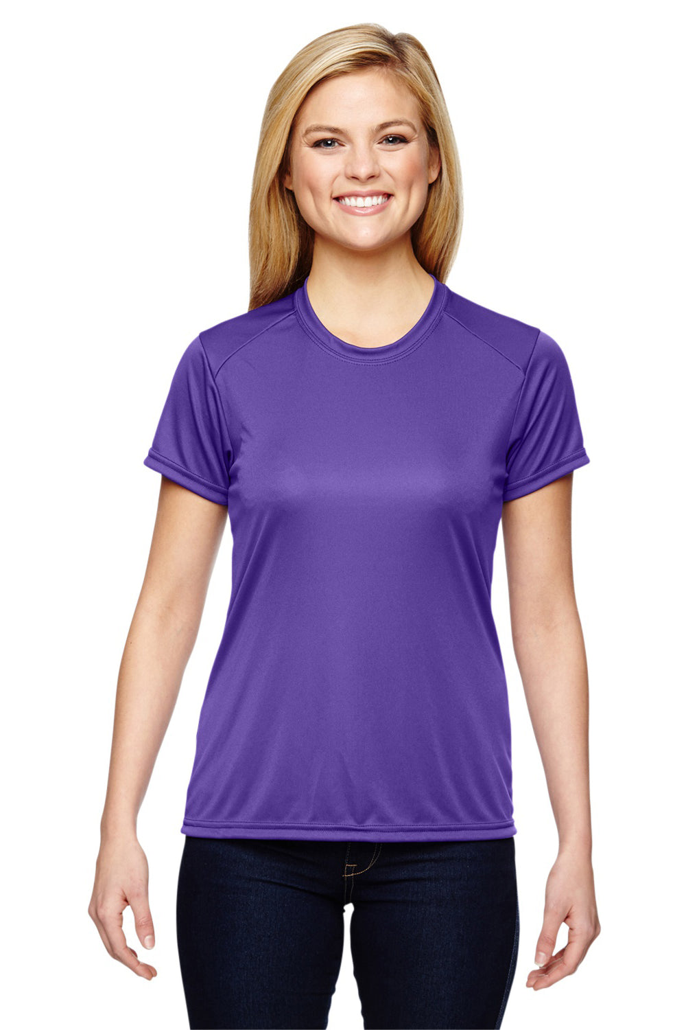 A4 NW3201 Womens Cooling Performance Moisture Wicking Short Sleeve Crewneck T-Shirt Purple Front