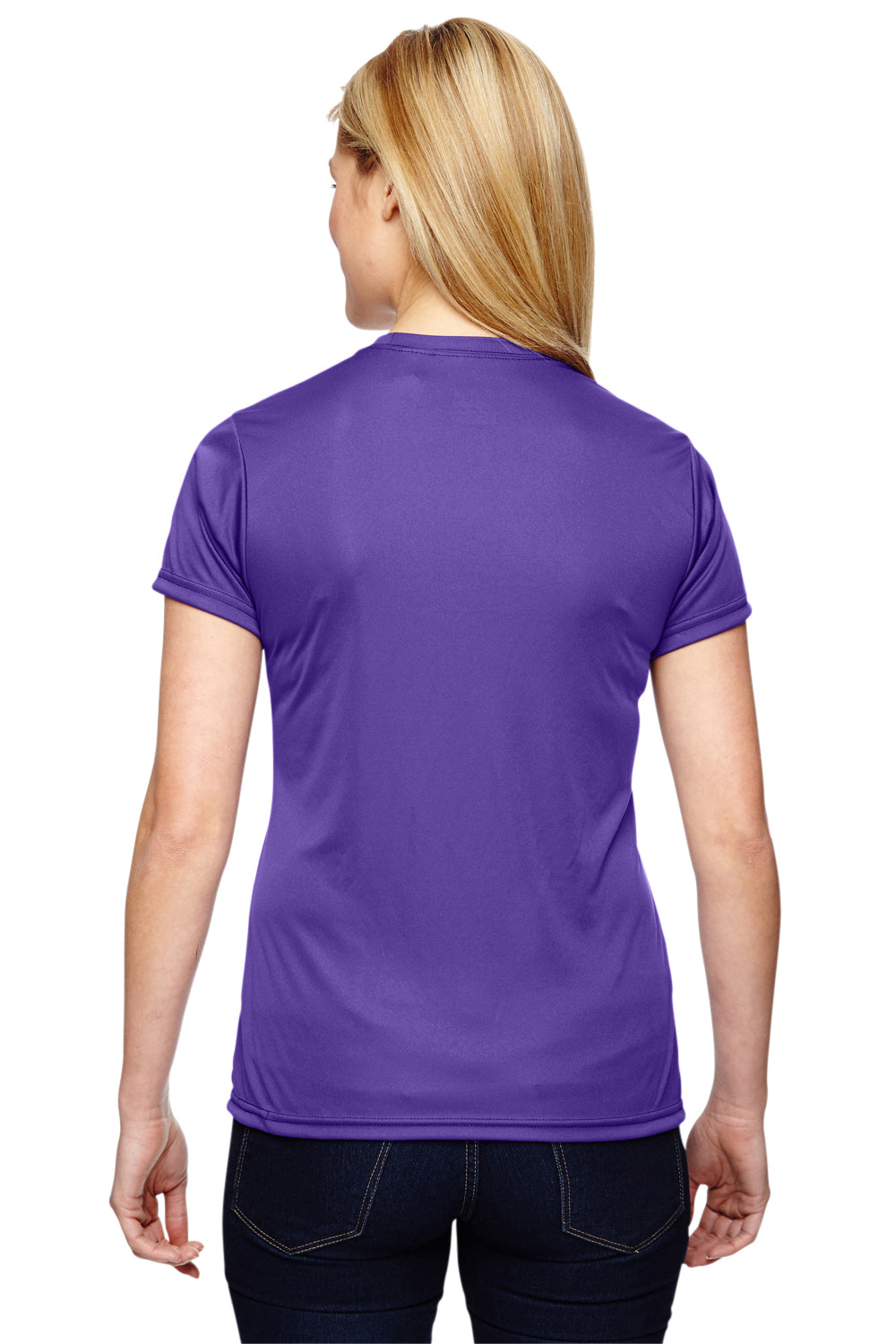 A4 NW3201 Womens Cooling Performance Moisture Wicking Short Sleeve Crewneck T-Shirt Purple Back