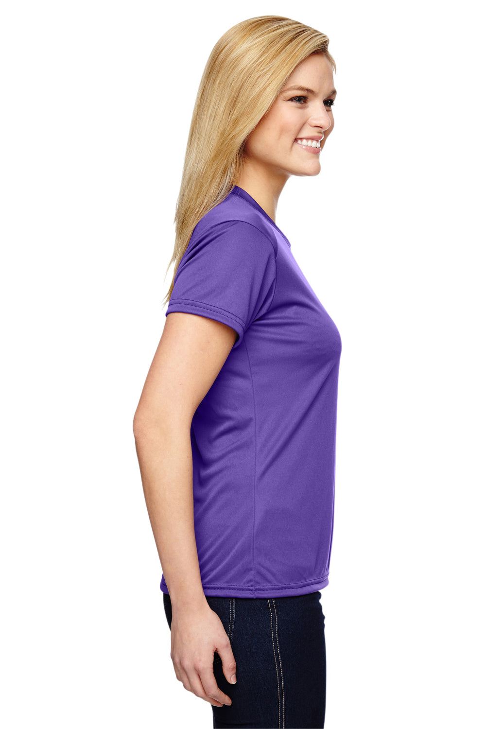 A4 NW3201 Womens Cooling Performance Moisture Wicking Short Sleeve Crewneck T-Shirt Purple Side