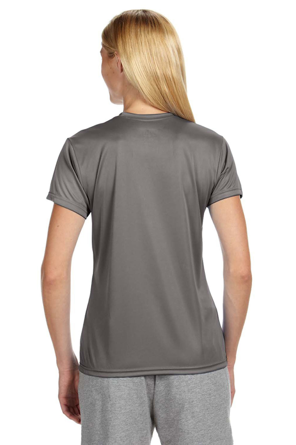 A4 NW3201 Womens Cooling Performance Moisture Wicking Short Sleeve Crewneck T-Shirt Graphite Grey Back