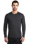 Ogio OE321 Mens Endurance Pulse Jersey Moisture Wicking Long Sleeve Crewneck T-Shirt Black Front