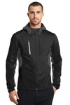 Ogio OE721 Mens Endurance Pivot Wind & Water Resistant Full Zip Hooded Jacket Black/Grey Front