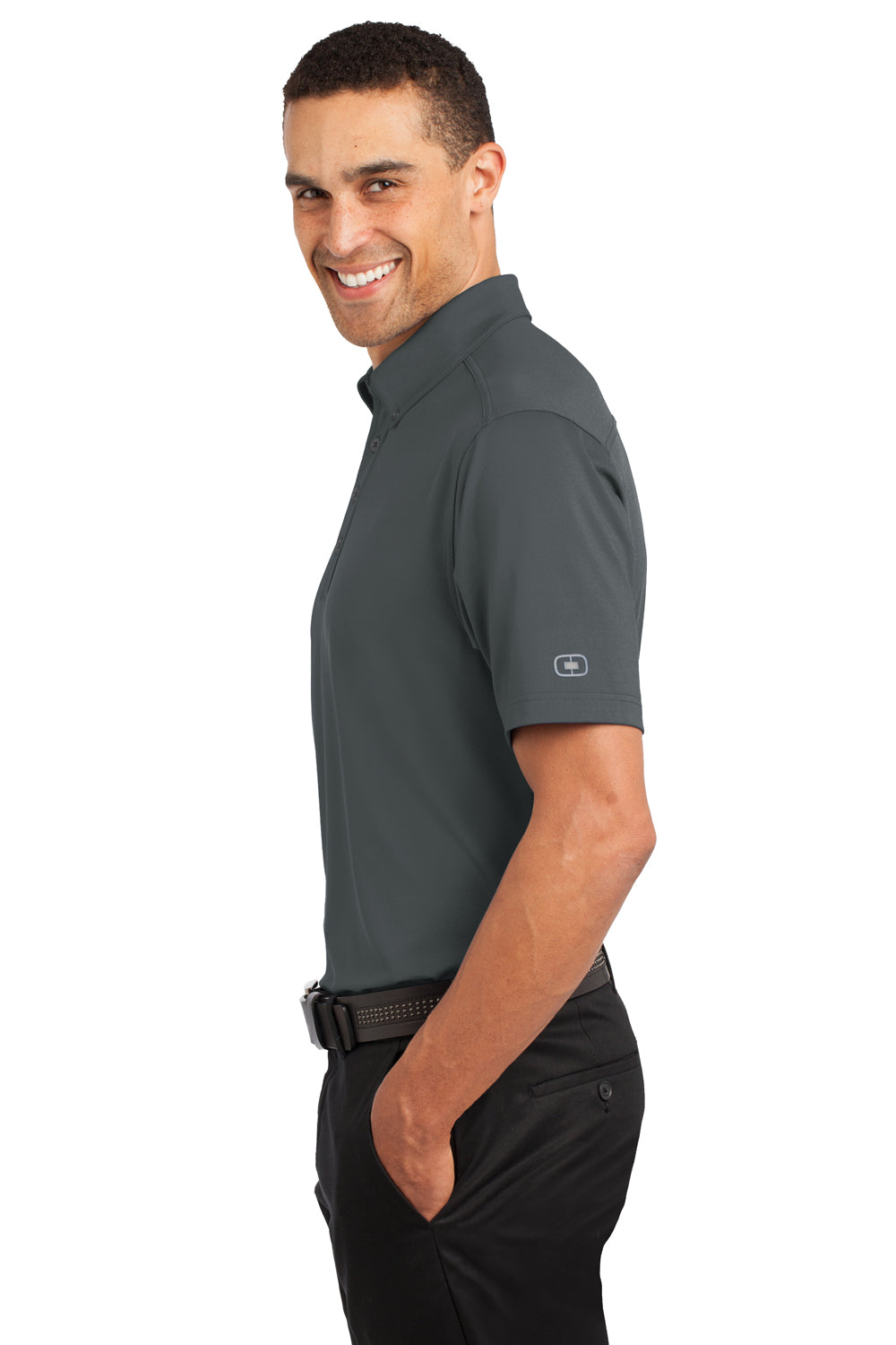 Ogio OG122 Mens Gauge Moisture Wicking Short Sleeve Polo Shirt Diesel Grey Side