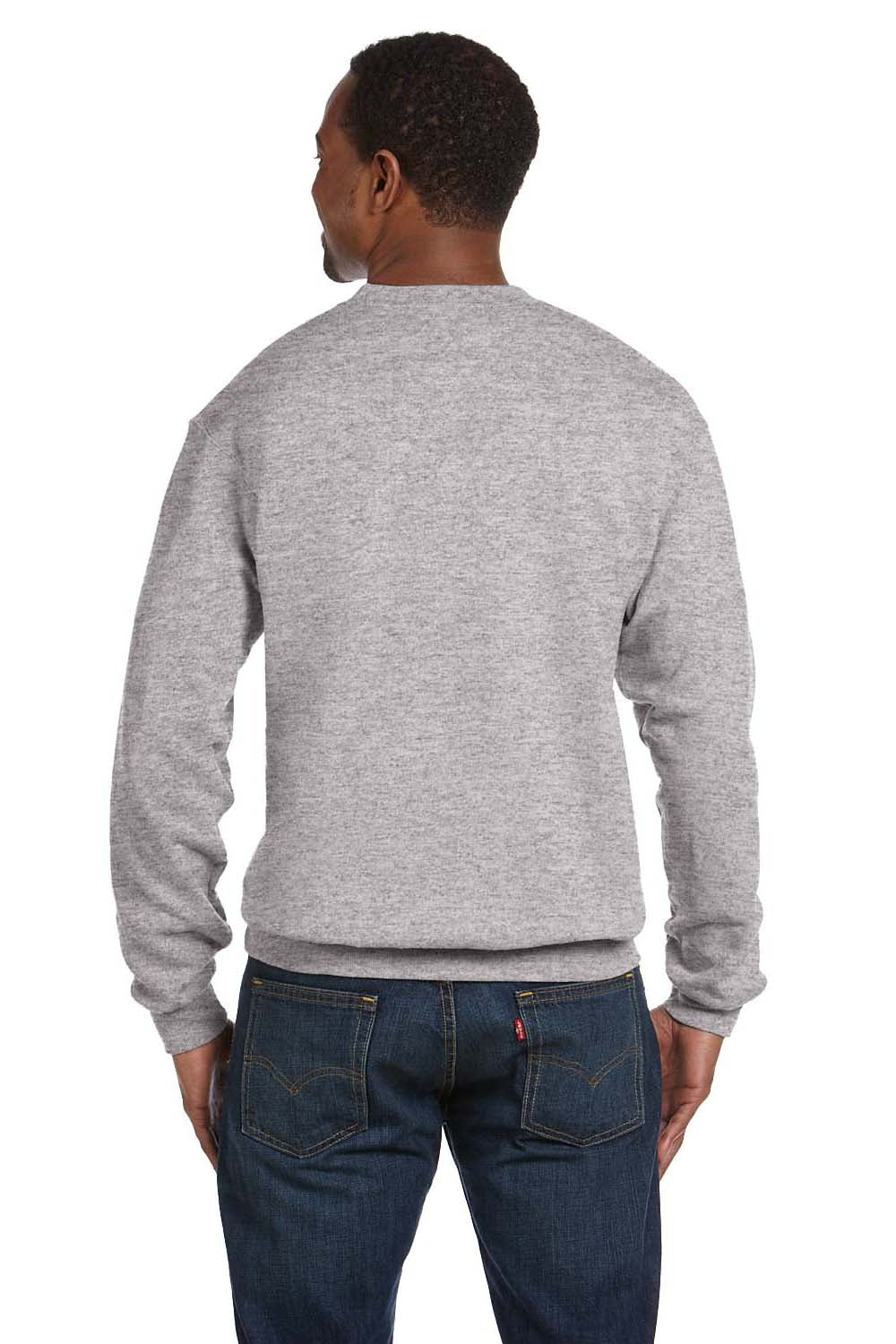 Hanes P160 Mens EcoSmart Print Pro XP Fleece Crewneck Sweatshirt Light Steel Grey Back