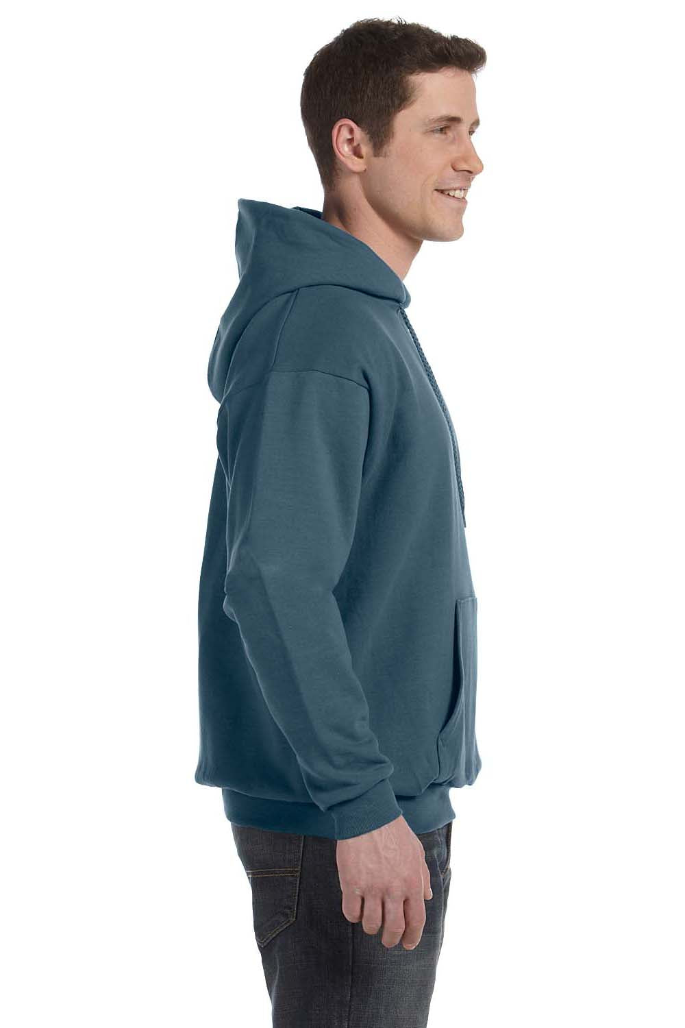 Hanes P170 Mens EcoSmart Print Pro XP Hooded Sweatshirt Hoodie Denim Blue Side