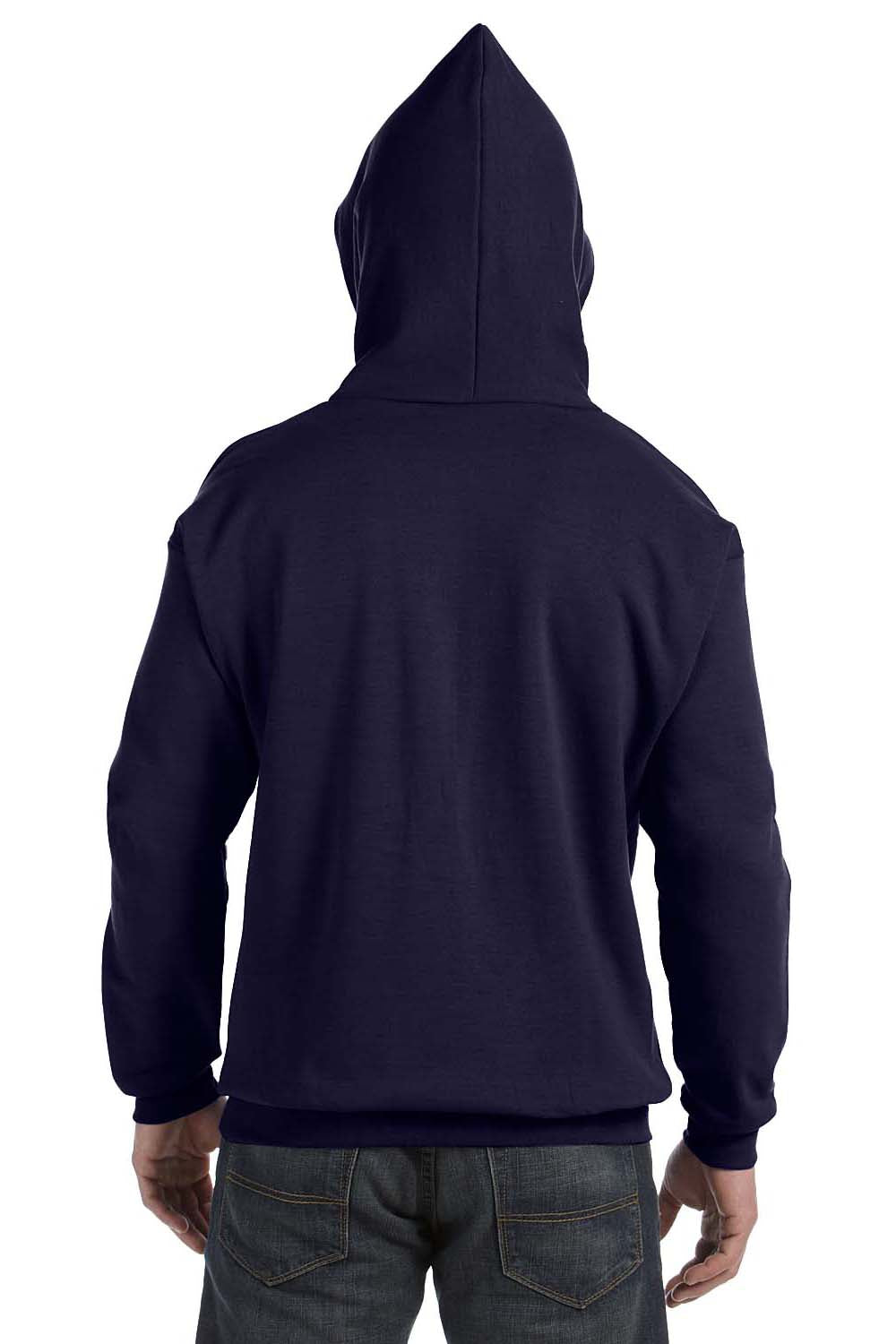 Hanes P170 Mens EcoSmart Print Pro XP Hooded Sweatshirt Hoodie Navy Blue Back