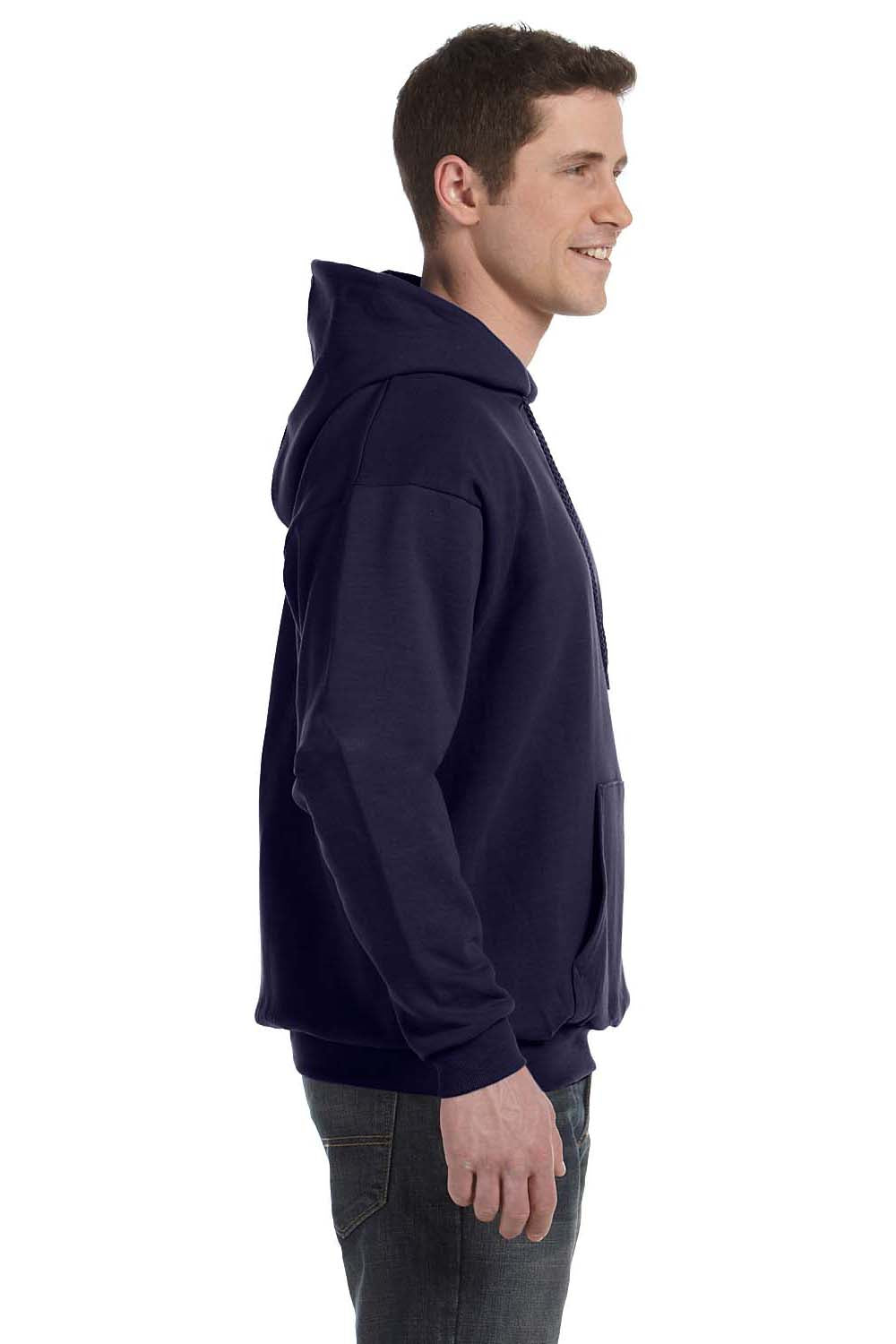 Hanes P170 Mens EcoSmart Print Pro XP Hooded Sweatshirt Hoodie Navy Blue Side