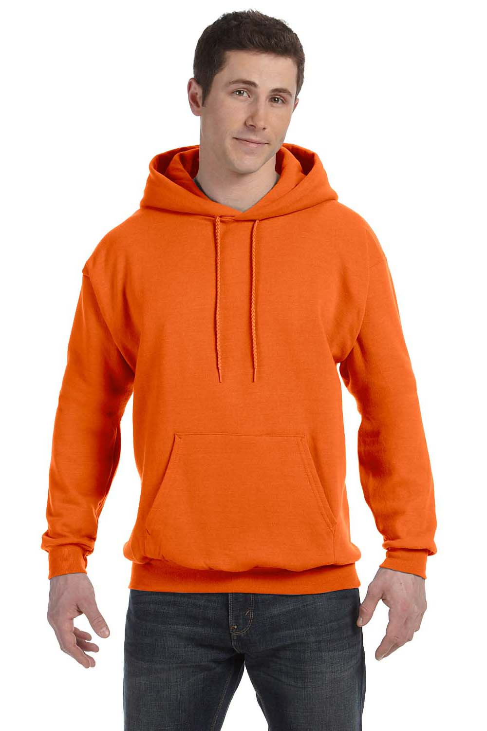Hanes P170 Mens EcoSmart Print Pro XP Hooded Sweatshirt Hoodie Orange Front