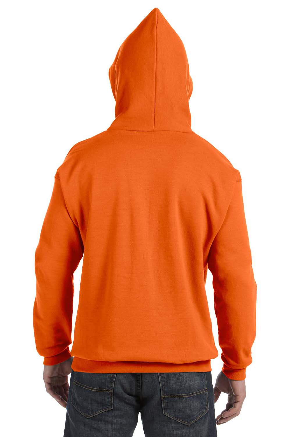 Hanes P170 Mens EcoSmart Print Pro XP Hooded Sweatshirt Hoodie Orange Back