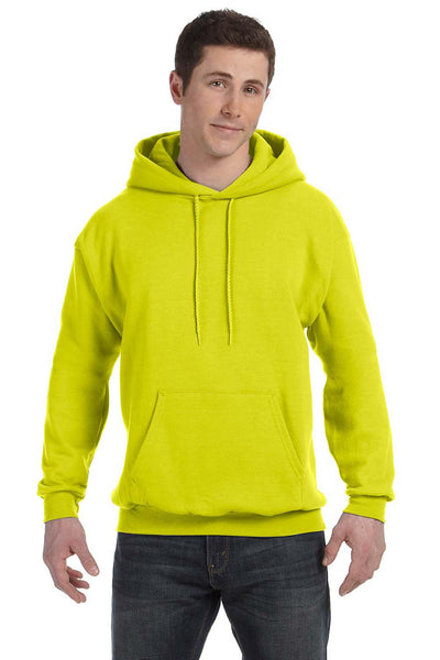 Hanes P170 Mens EcoSmart Print Pro XP Hooded Sweatshirt Hoodie Safety Green Front