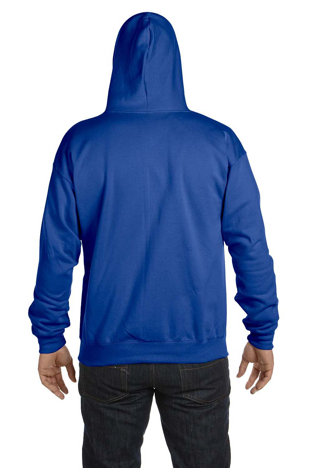 Hanes P180 Mens EcoSmart Print Pro XP Full Zip Hooded Sweatshirt Hoodie Royal Blue Back
