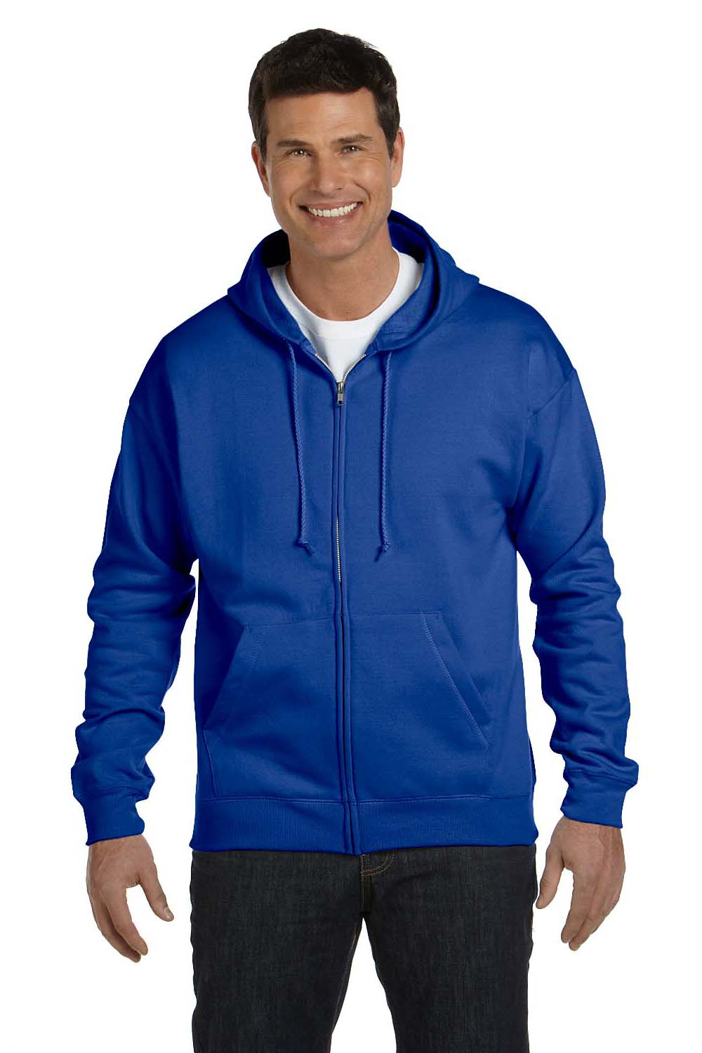 Hanes P180 Mens EcoSmart Print Pro XP Full Zip Hooded Sweatshirt Hoodie Royal Blue Front