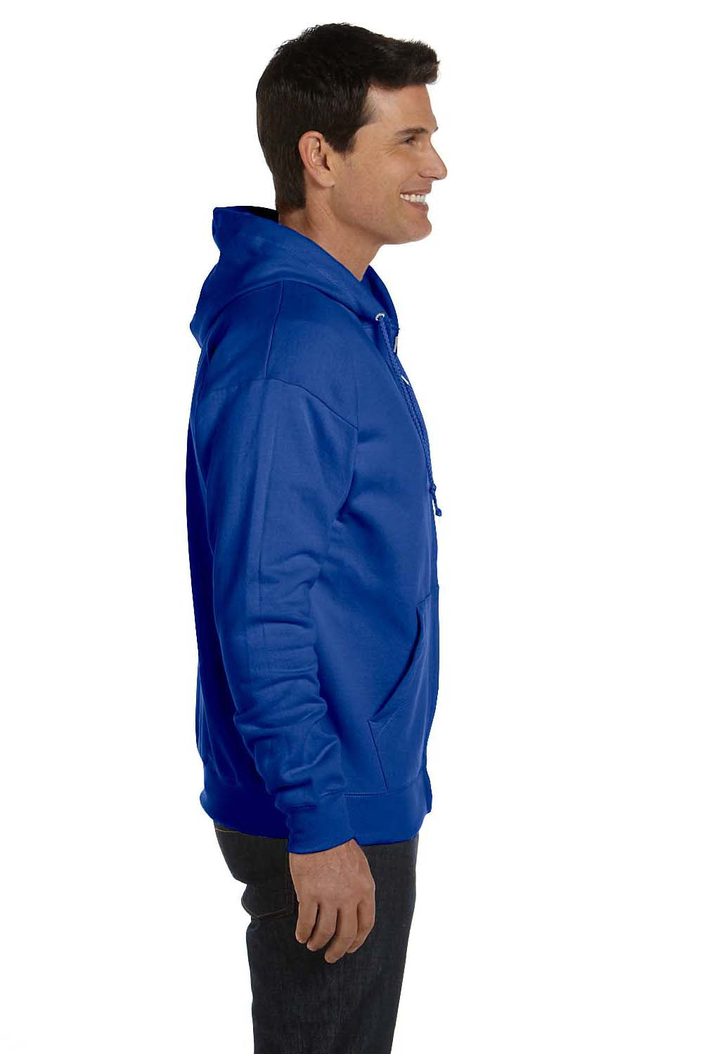 Hanes P180 Mens EcoSmart Print Pro XP Full Zip Hooded Sweatshirt Hoodie Royal Blue Side