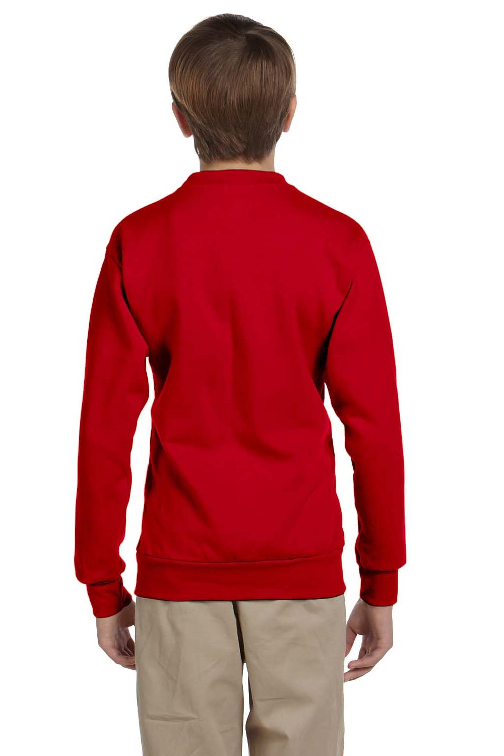 Hanes P360 Youth EcoSmart Print Pro XP Fleece Crewneck Sweatshirt Red Back