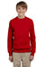 Hanes P360 Youth EcoSmart Print Pro XP Fleece Crewneck Sweatshirt Red Front