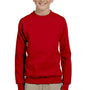 Hanes Youth EcoSmart Print Pro XP Fleece Crewneck Sweatshirt - Deep Red