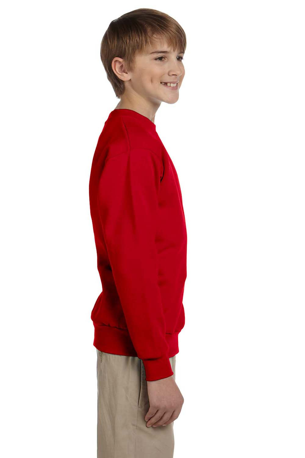 Hanes P360 Youth EcoSmart Print Pro XP Fleece Crewneck Sweatshirt Red Side