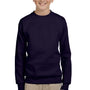 Hanes Youth EcoSmart Print Pro XP Fleece Crewneck Sweatshirt - Navy Blue