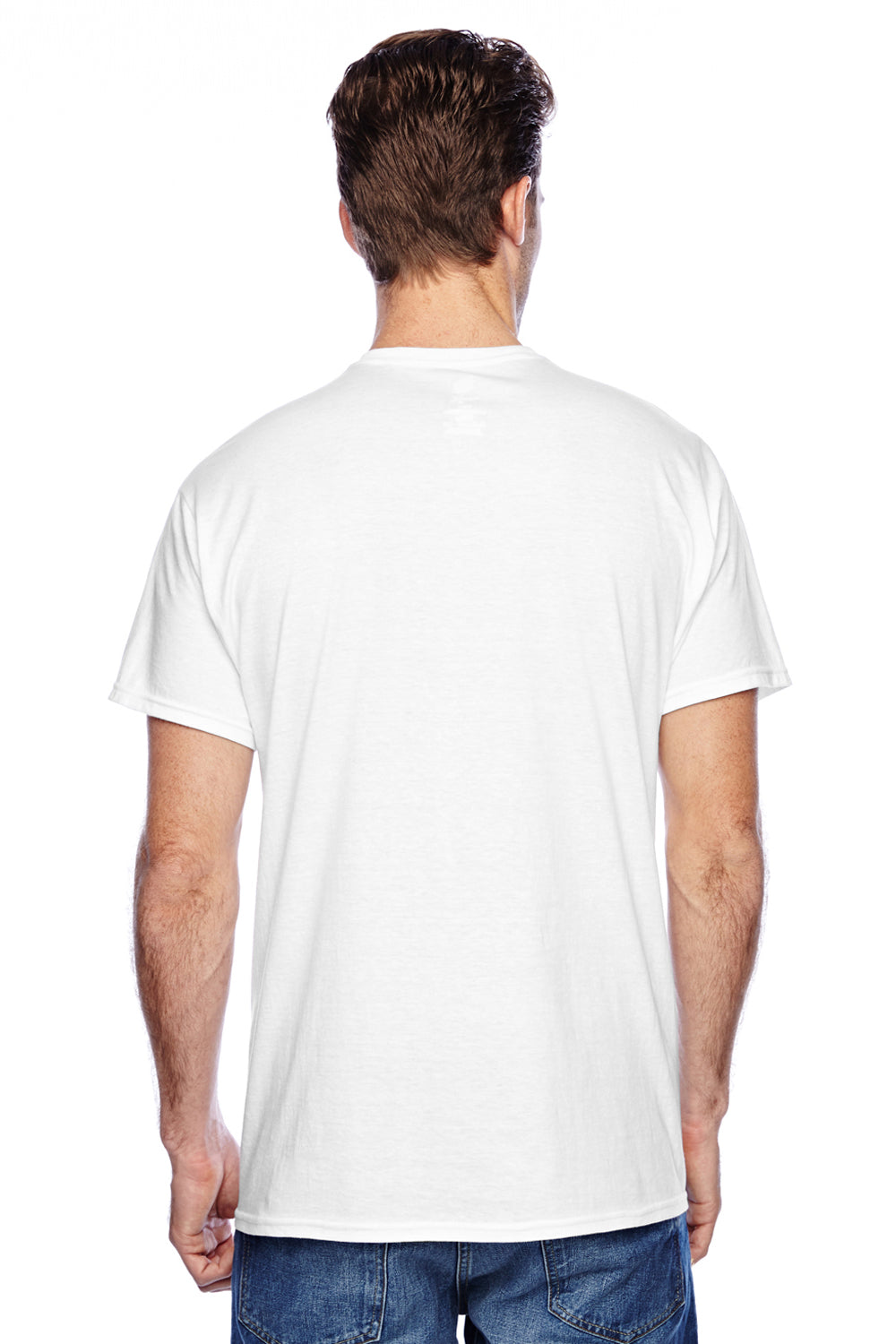 Hanes P4200 Mens X-Temp Moisture Wicking Short Sleeve Crewneck T-Shirt White Back