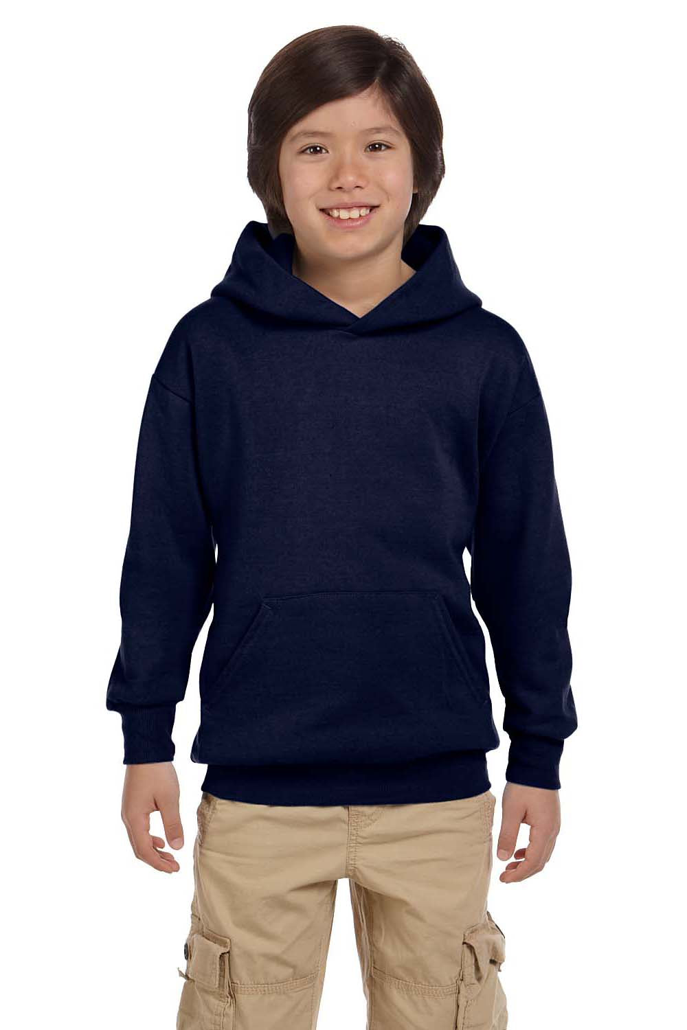 Hanes P473 Youth EcoSmart Print Pro XP Hooded Sweatshirt Hoodie Navy Blue Front