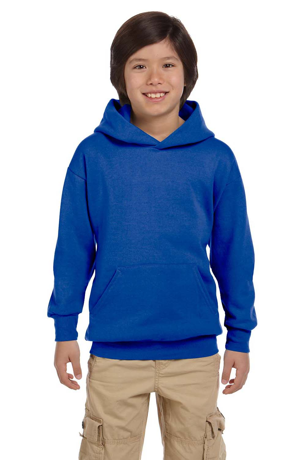 Hanes P473 Youth EcoSmart Print Pro XP Hooded Sweatshirt Hoodie Royal Blue Front