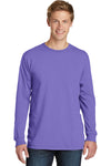 Port & Company PC099LS Mens Beach Wash Long Sleeve Crewneck T-Shirt Amethyst Purple Front