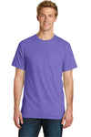 Port & Company PC099P Mens Beach Wash Short Sleeve Crewneck T-Shirt w/ Pocket Amethyst Purple Front