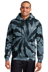 Port & Company PC146 Mens Tie-Dye Fleece Hooded Sweatshirt Hoodie Black Front