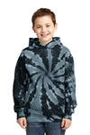 Port & Company PC146Y Youth Tie-Dye Fleece Hooded Sweatshirt Hoodie Black Front