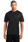 Port & Company PC380 Mens Dry Zone Performance Moisture Wicking Short Sleeve Crewneck T-Shirt Black Front