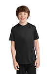 Port & Company PC380Y Youth Dry Zone Performance Moisture Wicking Short Sleeve Crewneck T-Shirt Black Front
