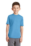 Port & Company PC381Y Youth Dry Zone Performance Moisture Wicking Short Sleeve Crewneck T-Shirt Aqua Blue Front